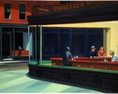 Nighthawks by Edward Hopper (Night Hawks) reproduction oil painting on canvas, made to order, 100% money back guarantee