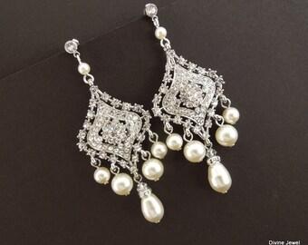 Bridal Earrings Bridal Rhinestone Earrings Swarovski Pearls chandelier Earrings Statement Bridal Earrings Wedding Pearl Earrings DEBBY