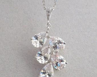 Crystal Bridal Necklace Bridal necklace Wedding Crystal Necklace Cubic Zirconia Necklace Silver Chain Necklace Crystal teardrop necklace