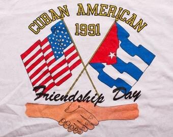 1991 Cuban American Friendship Day T-Shirt, Guantanamo Bay, Vintage 90s