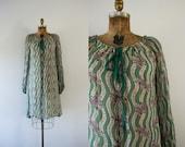 1970s Lily Of The Valley bohemian chiffon dress / 70s goddess