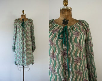1970s Lily Of The Valley bohemian chiffon dress / 70s goddess