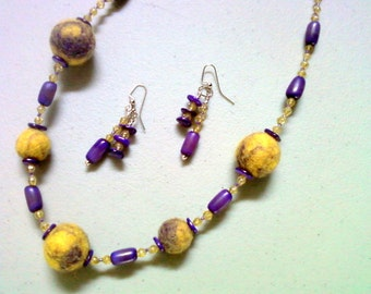 Chunky Grape and Lemon Necklace and Earrings (0230)