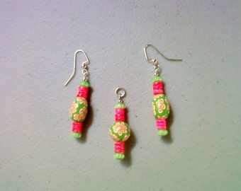 Hot Pink and Lime Green Pendant and Earrings (250)