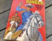 Vintage coloring book The Lone Ranger Coloring and activity book from Whitman 1974 Lone Ranger his horse Silver and his friend Tonto