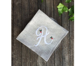 Monogram Linen Christmas Napkin 18 or 22 inch, Gray Large Cloth Dinner Serviette Set, Personalized Embroidered Festive Holly Egyption Cotton