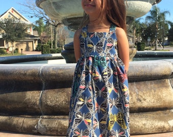 Butterfly Dress Monarch in Blue The Rosie Dress MADE TO ORDER