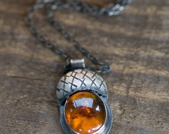 Outdoors Gift for Her or Him Amber Acorn Necklace Sterling Silver Pendant Necklace Autumn Jewelry Rustic Silver Necklace Best Dressed Orange
