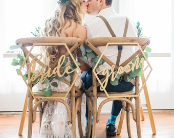 Wedding Chair Signs Geometric Style for Bride and Groom Wedding Chairs, Hexagon Calligraphy Wooden Hanging Signs Set (Item - GBG200)
