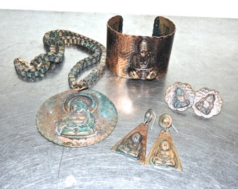 vintage copper jewelry set - 1940s-50s hammered copper buddha set w/ cuff, necklace, clip-on & pierced earrings