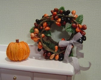 Miniature Dollhouse Fall Wreath with pumpkin One Inch Scale 1:12