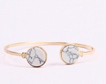 Marble Cuff, Marble Cuff in Gold, Open Cuff, Gold Cuff, Geometric Cuff, Marble Circle Cuff, White Marble Cuff, Cuff Bracelet