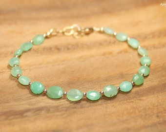 Chrysoprase Bracelet, Gold Filled or Sterling Silver Beads, Chrysoprase Jewelry, Oval Stones, Gemstone Jewelry
