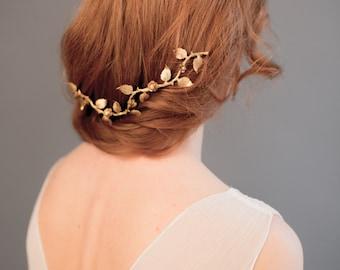 Bridal hair vine -  Boho wedding headpiece - Gold wedding hairpiece - Gold leaf hair vine - Wedding headband - Bridal headband