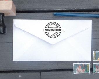Baseball Return Address Stamp | Custom Family Stamp | Personalized Address Stamper | Self Inking | Wood Mounted Rubber Stamp
