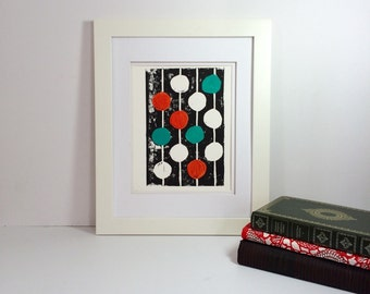 Orange and teal mid century modern monoprint 9x12 printmaking art
