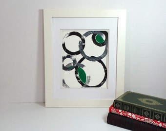 Green, gray and black modern abstract monoprint 9x12 handprinted