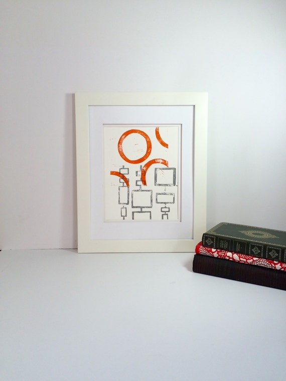 Orange and Gray Abstract Mid Century Modern Print 9x12