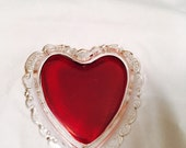 Vintage Ruby Flash Heart Shaped Glass Tray Pin Or Trinket  Dish Souvenir Ohio