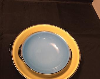 Vintage Enamelware Sizzler Pans,  Set Two Nesting Pans,  Yugoslavia 1960s, Mod Colors, Retro Kitchen