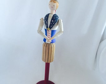 Vintage Folk Art Wood Doll Napkin Holder Scandianavian Souvenir Figure Dalarna