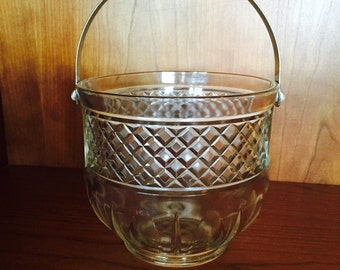 Pressed Glass Ice Bucket,  Hammered Metal Swing Handle, Diamond Quilting Design, Barware