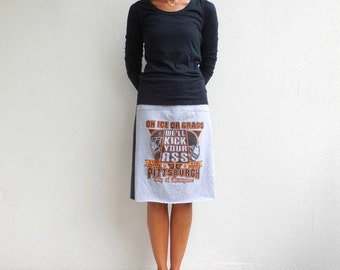 Pittsburgh Penguins Pittsburgh Steelers T-Shirt Skirt Recycled Tee Skirt Upcycled T-Shirts Straight Knee Length Skirt Cotton Skirt ohzie