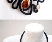 Statement Necklace Black & Tortoise Shell - Moder Pattern Geometric Necklace - Holiday Jewelry