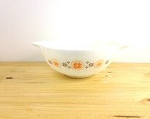 Vintage Pyrex Town and Country / Large Glass Bowl / 4 Qt Bowl / Mixing Bowl / Cinderella Bowl / Orange and Brown / Glass Mixing Bowl