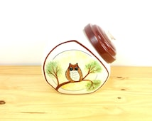 Vintage Owl Cookie Jar / Owl Canister / Ceramic Canister / Hand Painted / Retro Kitchen Decor / Woodland Decor / Kitschy Kitchen
