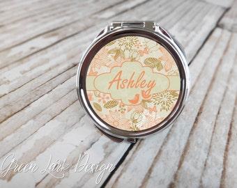 Bridesmaids Personalized Compact Mirror - Floral Sketch Love Birds In Peach