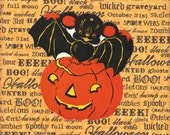 Bat and JOL - Original 1950s Halloween Diecut Decoration - RARE!
