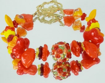 Yellow, Orange and Red Flower and Leaf Bead Bracelet with Flower Toggle Clasp