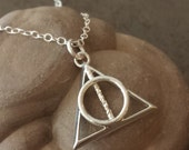 Hallows Be Symbol Pendant - Geeky Jewelry - Book Lovers - Nerdy Necklace