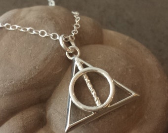 Deadly Hallows Symbol Pendant - Geeky Jewelry, Pop Culture, Wizard, Nerdy, Book Lovers Gift