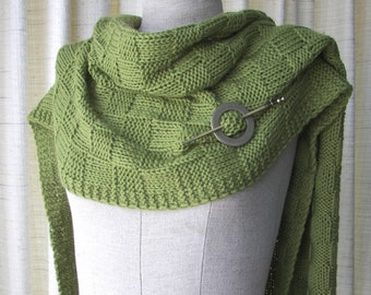 GREEN TEA Hand Knit Wrap Pashmina Shawl in Merino Cashmere Wool with Pin / Textured Checkerboard knit Shawl / Thoughtful Gift / Wedding