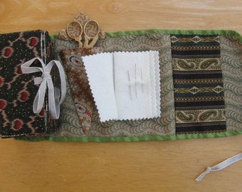 Green sewing box, housewife, hand sewn