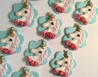 Unicorn Fondant Cupcake, Cake or Cookie Toppers. Set includes 12