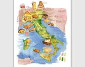 Italian food map print, Illustrated map of Italy, 8X10 print, Italian kitchen, Italian decor, Watercolor painting, Italy wall art, Food art