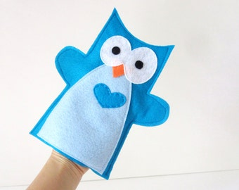 Felt Owl Hand Puppet for Small Hand, Handstitched, Handmade Toy- READY TO SHIP A345