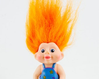 1991 Applause Baby Troll Doll, Bright Orange Hair, Blue eyes, Articulated arms and legs, Blue polka dot romper with shoulder straps