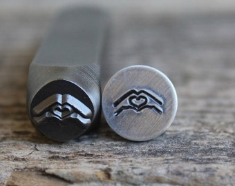 Hands with Heart Metal Stamp 8mm Size-Steel Stamp-Can be used on Stainless- Design Stamps- Metal Supply Chick-DJU83