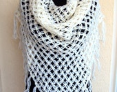 Sale! Crochet Ivory Shawl Scarf Shoulder Wrap Triangle Shawl Gift For Her Valentine's Day Gift