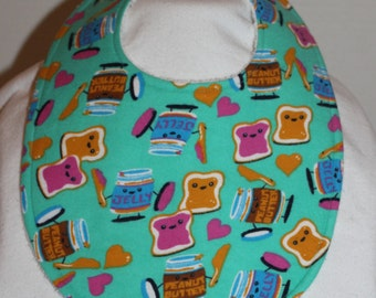 Peanut Butter and Jelly Flannel / Terry Cloth Bib
