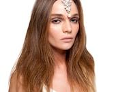 Bridal Crystal Pearl Chain Headpiece Mang Tikka Indian Hair Piece Headband