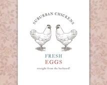 Cute Kitchen Decor, Vintage Style Chickens Print