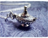 Silver Magic Lamp Necklace - Sterling Silver Magic Lamp Charm on a Delicate Sterling Silver Cable Chain or Charm Only