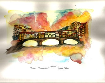 "Italian Landscape Art  Original Watercolor ""Old Bridge Florence""""TUSCANY"" Italy   Italian Landscape & Scenic"