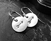 Sterling Silver ARROW Earrings - Arrow Earrings -  Hand Stamped Arrow Earrings - Sterling Silver Dangle Arrow Earrings