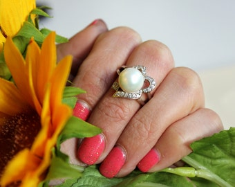 Fresh Water Pearl HALO RING- Sterling Silver Ring - CZ halo design